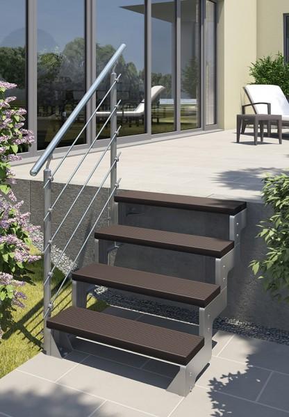 Gardentop - Gartentreppe - Außentreppe für den Garten - Stufen Trimax dunkel braun