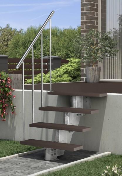 Gardenstep - Gartentreppe - Außentreppe für die Terasse mit Stufen aus Trimax braun